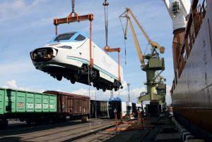 Sea Port of Saint Petersburg unloads Talgo train